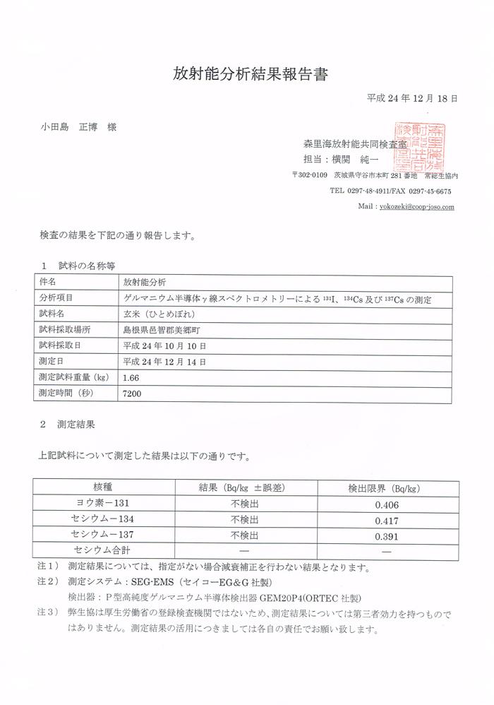 24年度産小田島農園ひとめぼれ玄米 放射能不検出証明書